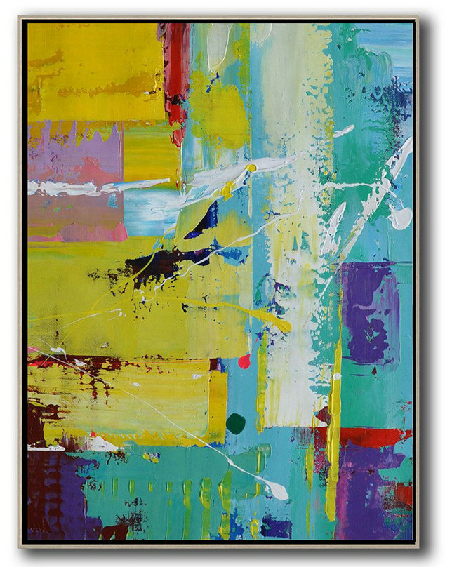 Hand Painted Extra Large Abstract Painting,Vertical Palette Knife Contemporary Art,Acrylic Minimailist Painting Sky Blue,Yellow,Purple,Red