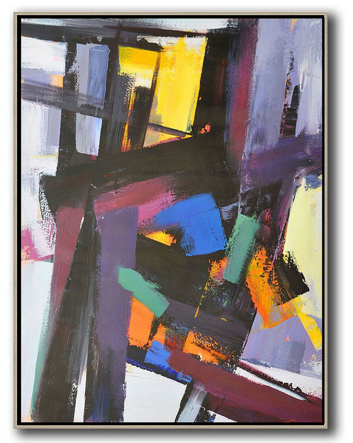 "Extra Large 72"" Acrylic Painting,Vertical Palette Knife Contemporary Art,Oversized Canvas Art Black,Purple,Pink,Blue,Yellow,Brown"