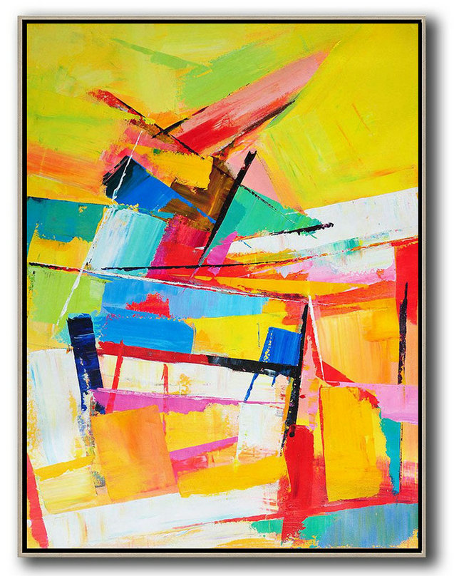 Oversized Canvas Art On Canvas,Vertical Palette Knife Contemporary Art,Acrylic Minimailist Painting Yellow,Red,Blue,White