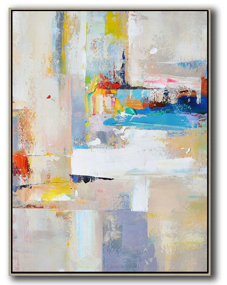 Large Abstract Art,Vertical Palette Knife Contemporary Art,Hand Paint Large Art Beige,White,Blue,Red,Yellow,Pink