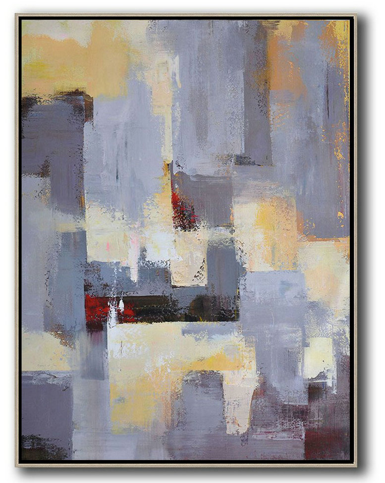 Large Abstract Art,Vertical Palette Knife Contemporary Art,Original Art Grey,Yellow,Red