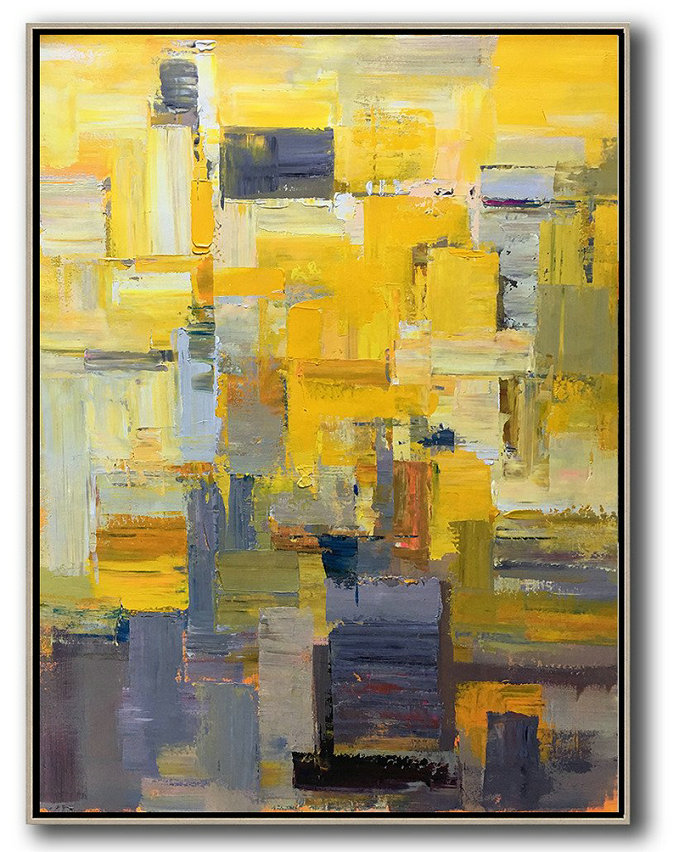 Original Abstract Painting Extra Large Canvas Art,Vertical Palette Knife Contemporary Art,Abstract Oil Painting Yellow,Brown,Taupe,Purple,Beige