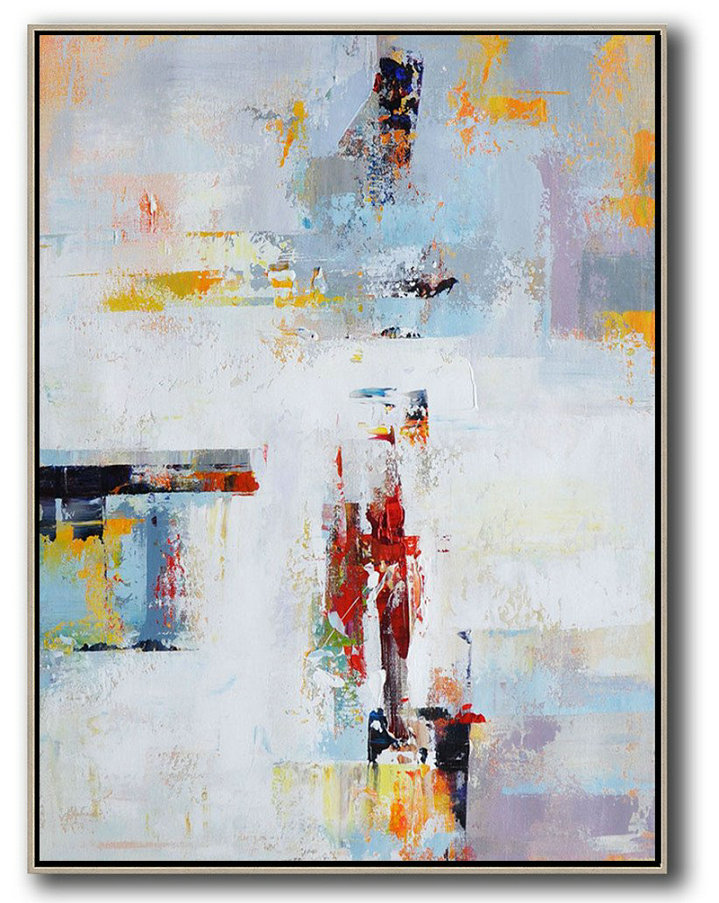 Large Contemporary Art Acrylic Painting,Vertical Palette Knife Contemporary Art,Unique Canvas Art White,Grey,Red,Yellow