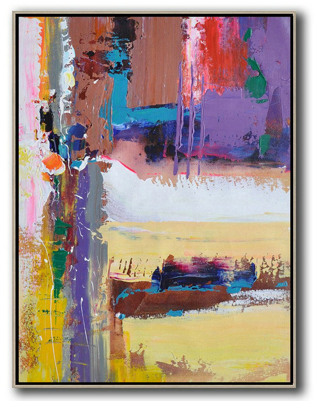 Abstract Painting Extra Large Canvas Art,Vertical Palette Knife Contemporary Art,Original Art Purle,Yellow,White,Brown,Red,Blue