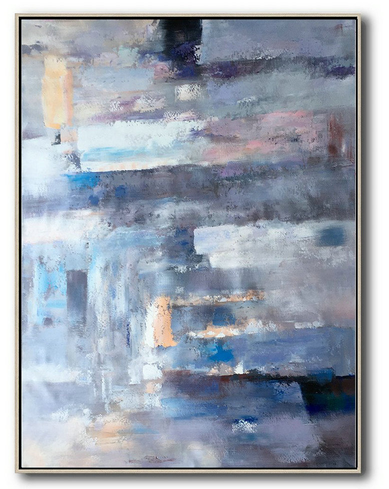 Abstract Painting Extra Large Canvas Art,Vertical Palette Knife Contemporary Art,Large Oil Canvas Art Violet Ash,Grey,Blue,Pink