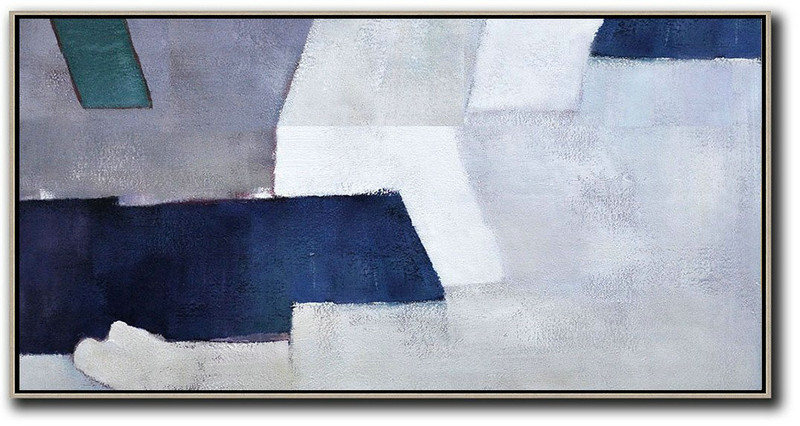 Acrylic On Canvas Abstract,Horizontal Palette Knife Contemporary Art,Acrylic Painting Wall Art White,Grey,Dark Blue