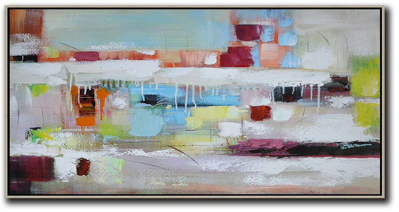 Large Abstract Art,Horizontal Palette Knife Contemporary Art,Extra Large Paintings White,Red,Yellow,Blue,Brown