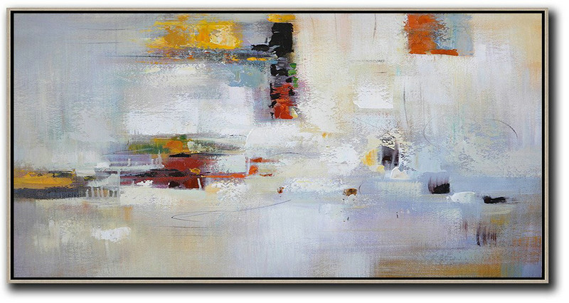 Extra Large Abstract Painting On Canvas,Horizontal Palette Knife Contemporary Art,Large Colorful Wall Art Grey,White,Purple,Red
