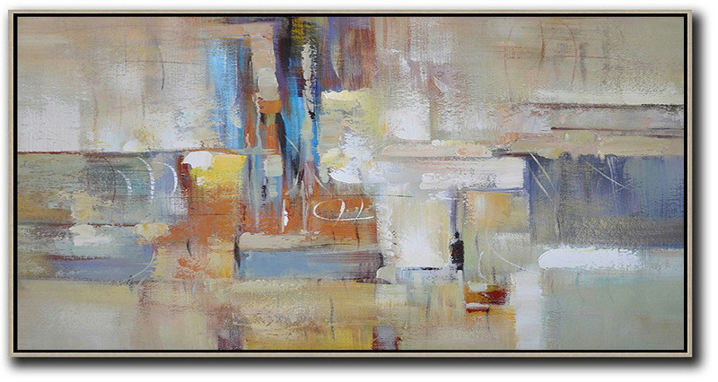 Abstract Artwork Online,Horizontal Palette Knife Contemporary Art,Hand-Painted Canvas Art Earthy Yellow,Blue,White,Brown