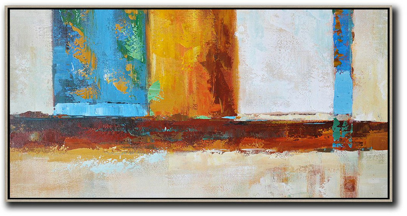 Hand Made Abstract Art,Horizontal Palette Knife Contemporary Art,Large Contemporary Painting Gret,Blue,Yellow,Orange,Brown