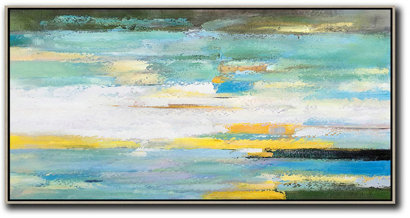 Handmade Painting Large Abstract Art,Horizontal Palette Knife Contemporary Art,Abstract Painting On Canvas White,Yellow,Blue,Light Green,Black