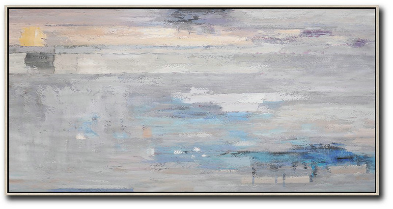 Abstract Paintings On Sale,Horizontal Palette Knife Contemporary Art,Large Abstract Art Handmade Acrylic Painting Grey,Blue,White