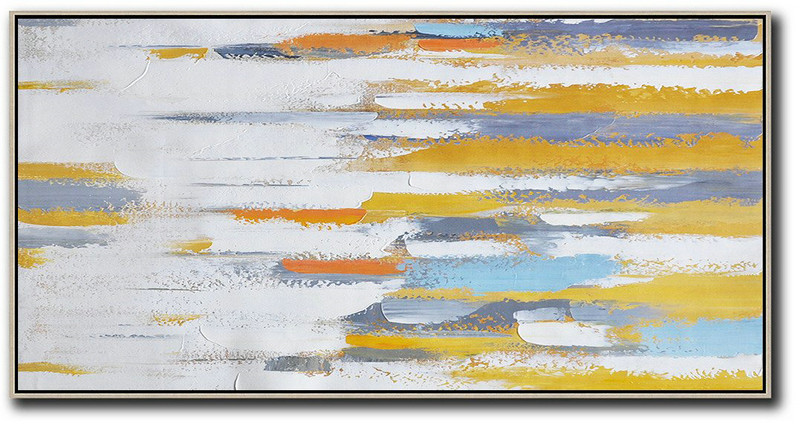 Big Wall Art For Living Room,Horizontal Palette Knife Contemporary Art,Large Abstract Wall Art White,Yellow,Orange,Blue