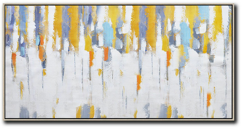 Pretty Abstract Paintings,Horizontal Palette Knife Contemporary Art,Colorful Wall Art White,Grey,Yellow