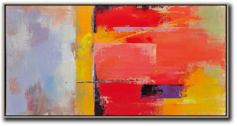 Extra Large Acrylic Painting On Canvas,Horizontal Palette Knife Contemporary Art Panoramic Canvas Painting,Oversized Custom Canvas Art Red,Yellow,Purple,Pink