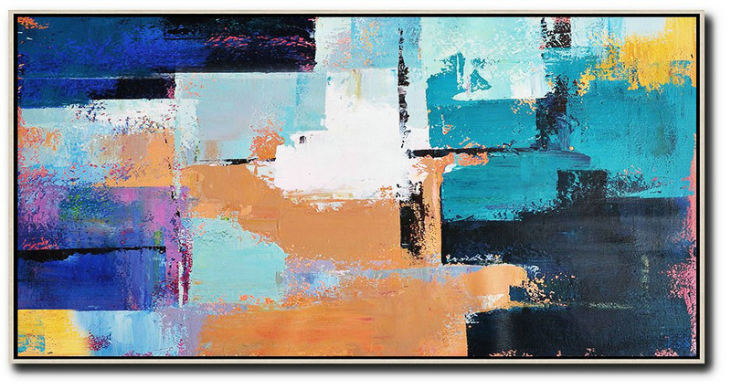 Large Abstract Art Handmade Oil Painting,Horizontal Palette Knife Contemporary Art Panoramic Canvas Painting,Original Art White,Lake Blue,Blue,Black,Earthy Yellow