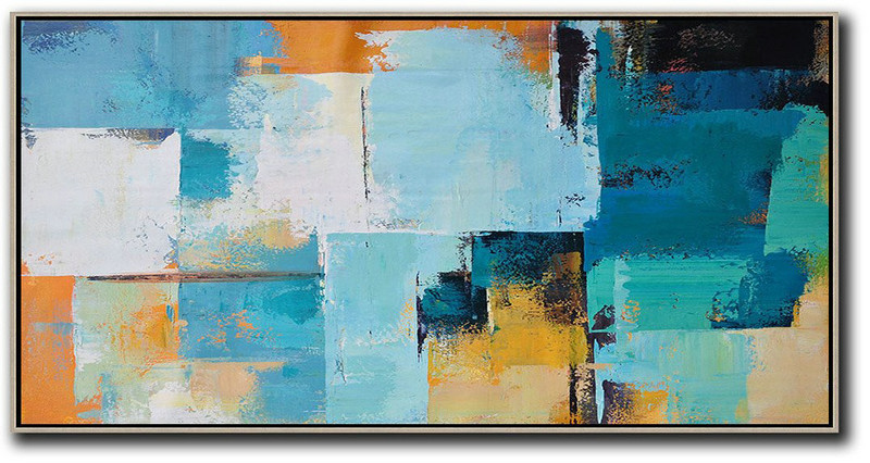Original Extra Large Wall Art,Horizontal Palette Knife Contemporary Art Panoramic Canvas Painting,Original Art Acrylic Painting White,Blue,Yellow,Orange