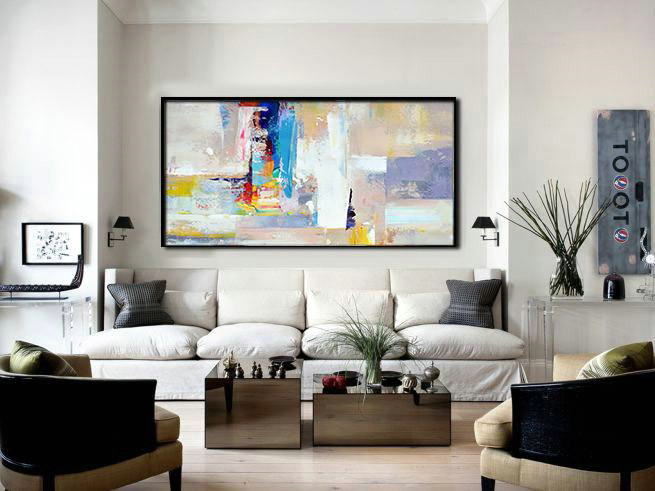 Multicolor Abstract Painting,Horizontal Palette Knife Contemporary Art Panoramic Canvas Painting,Abstract Art Decor Large Canvas Painting Grey,White,Blue,Purple