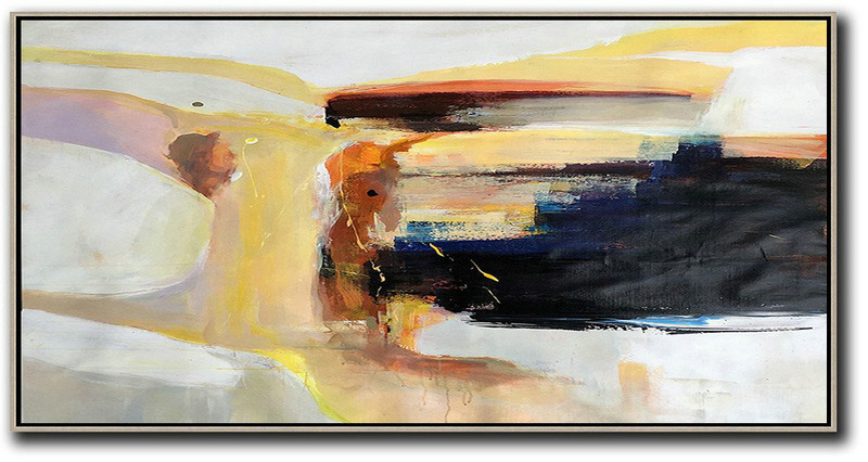 Extra Large Acrylic Painting On Canvas,Horizontal Palette Knife Contemporary Art Panoramic Canvas Painting,Abstract Oil Painting Grey,Yellow,Black,Brown