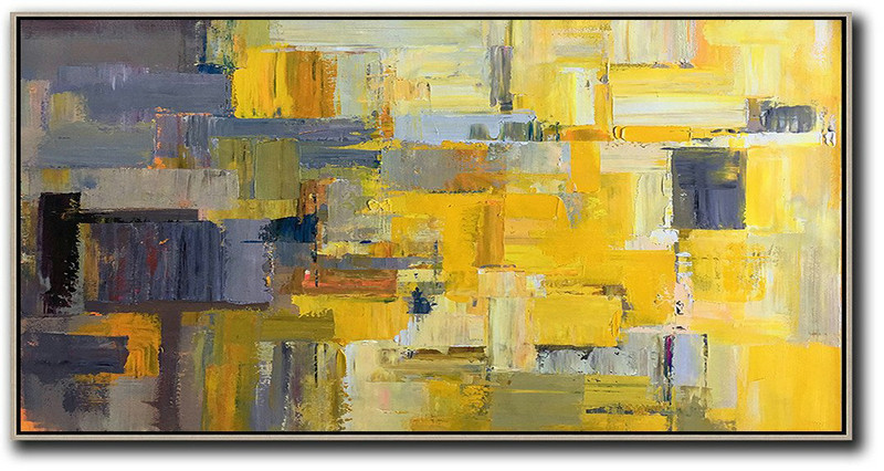 Abstract Painting Extra Large Canvas Art,Horizontal Palette Knife Contemporary Art Panoramic Canvas Painting,Contemporary Art Canvas Painting Yellow,Grey,Brown,White