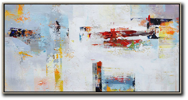 Modern Painting Abstract,Horizontal Palette Knife Contemporary Art Panoramic Canvas Painting,Abstract Art On Canvas, Modern Art Grey,White,Red,Yellow
