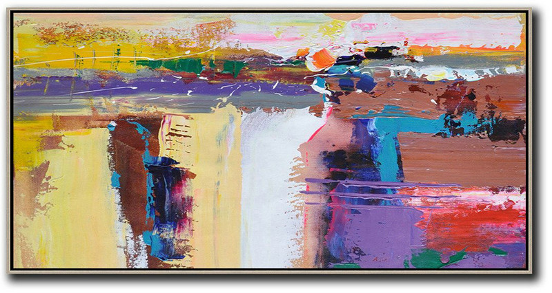 Extra Large Acrylic Painting On Canvas,Horizontal Palette Knife Contemporary Art Panoramic Canvas Painting,Extra Large Canvas Painting Yellow,White,Brown,Purple