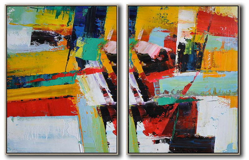 Extra Large Abstract Painting On Canvas,Set Of 2 Contemporary Art On Canvas,Acrylic Painting Large Wall Art Yellow,Red,White,Dark Blue,Black