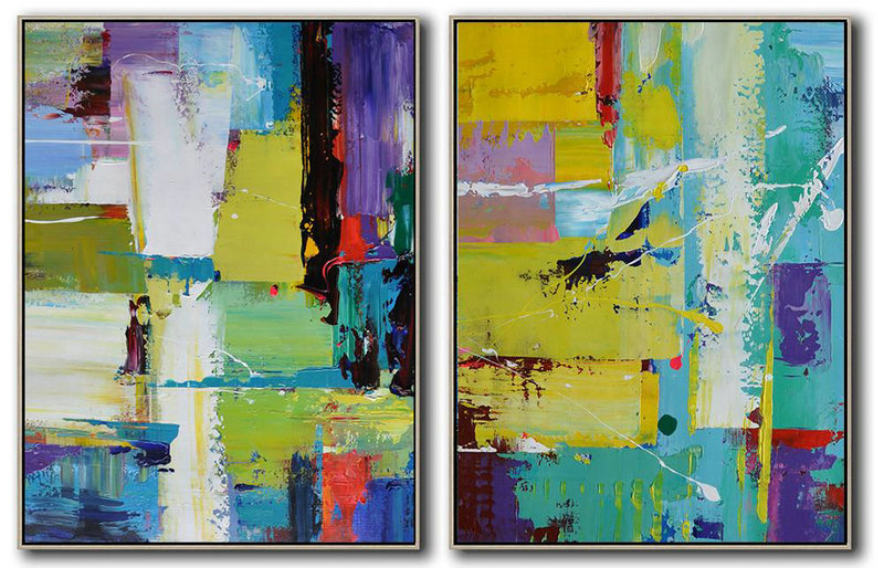 Abstract Painting Extra Large Canvas Art,Set Of 2 Contemporary Art On Canvas,Acrylic Painting On Canvas Yellow,Purple,White,Blue
