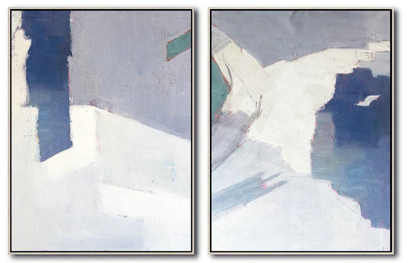 Large Abstract Art,Set Of 2 Contemporary Art On Canvas,Large Canvas Wall Art For Sale White,Grey,Blue