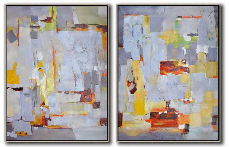 Handmade Large Contemporary Art,Set Of 2 Contemporary Art On Canvas,Giant Canvas Wall Art Grey,White,Yellow,Red