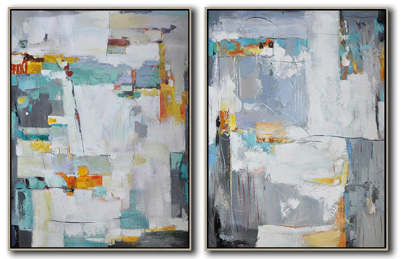Handmade Large Contemporary Art,Set Of 2 Contemporary Art On Canvas,Living Room Wall Art White,Grey,Yellow