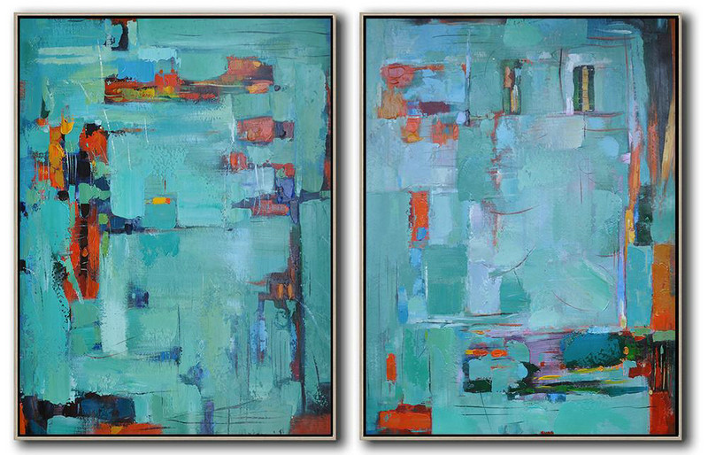 Handmade Large Contemporary Art,Set Of 2 Contemporary Art On Canvas,Large Wall Canvas Red,Lake Blue,Purple