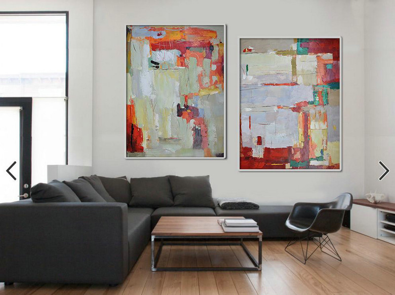 Large Contemporary Art Acrylic Painting,Set Of 2 Contemporary Art On Canvas,Huge Abstract Canvas Art Purple Grey,Dark Red,Light Green