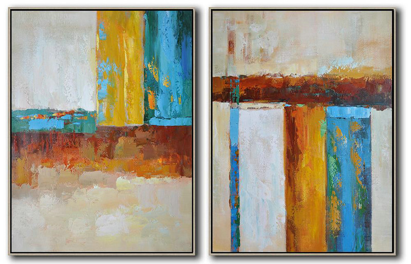Handmade Painting Large Abstract Art,Set Of 2 Contemporary Art On Canvas,Canvas Wall Paintings Brown,Yellow,Blue