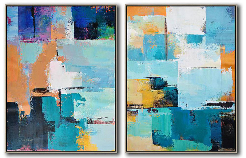 "Extra Large 72"" Acrylic Painting,Set Of 2 Contemporary Art On Canvas,Abstract Painting On Canvas White,Dark Blue,Earthy Yellow,Black"