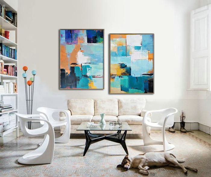 Extra Large Acrylic Painting On Canvas,Set Of 2 Contemporary Art On Canvas,Hand Painted Aclylic Painting On Canvas Blue,Yellow,Sky Blue,White,Beige - Click Image to Close