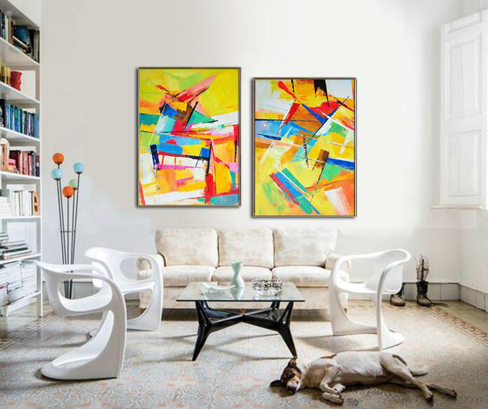 Hand Painted Extra Large Abstract Painting,Set Of 2 Contemporary Art On Canvas,Hand Painted Original Art Yellow,Orange,Red,Blue