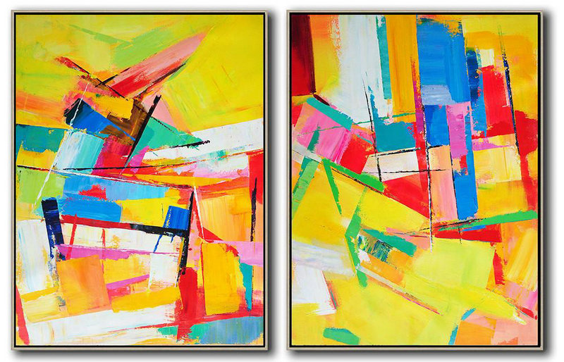 Huge Abstract Painting On Canvas,Set Of 2 Contemporary Art On Canvas,Abstract Painting On Canvas Yellow,Blue,Red,Pink,Green