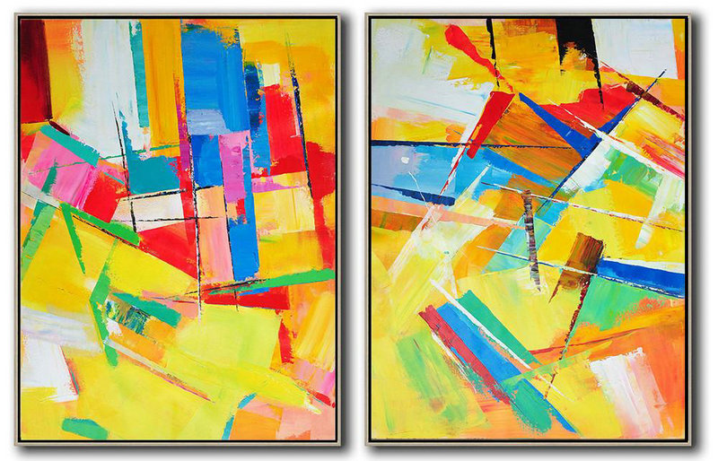 Handmade Painting Large Abstract Art,Set Of 2 Contemporary Art On Canvas,Original Abstract Painting Canvas Art Red,Yellow,Pink,Orange,Light Green