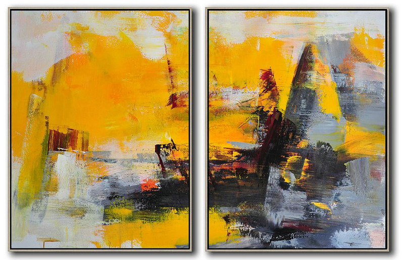 Abstract Painting Extra Large Canvas Art,Set Of 2 Contemporary Art On Canvas,Size Extra Large Abstract Art Yellow,Grey,Black