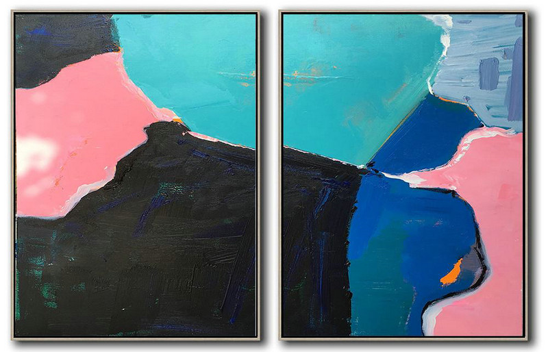 Huge Abstract Painting On Canvas,Set Of 2 Contemporary Art On Canvas,Big Art Canvas Lake Blue,Black,Pink,Dark Blue,Grey