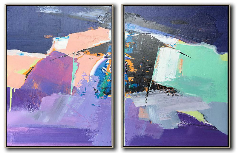 Extra Large Acrylic Painting On Canvas,Set Of 2 Contemporary Art On Canvas,Modern Wall Decor Dark Blue,Nude,Purple,Light Green,White