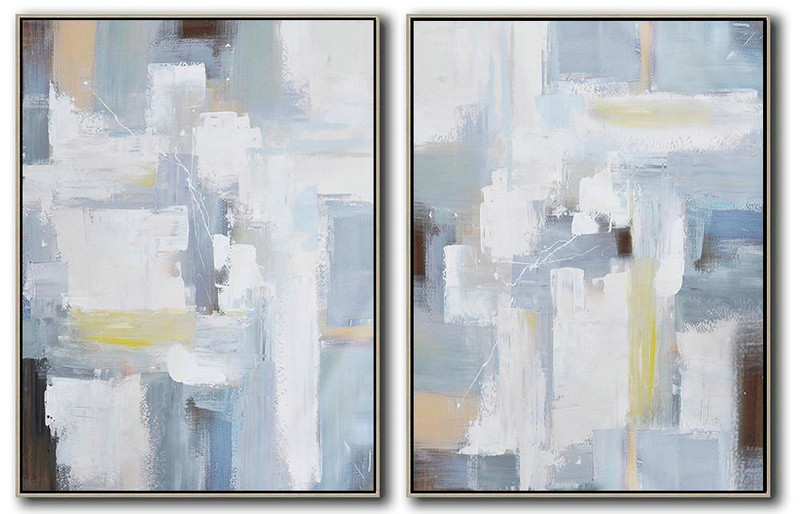 Hand Painted Extra Large Abstract Painting,Set Of 2 Contemporary Art On Canvas,Unique Canvas Art White,Grey,Light Blue