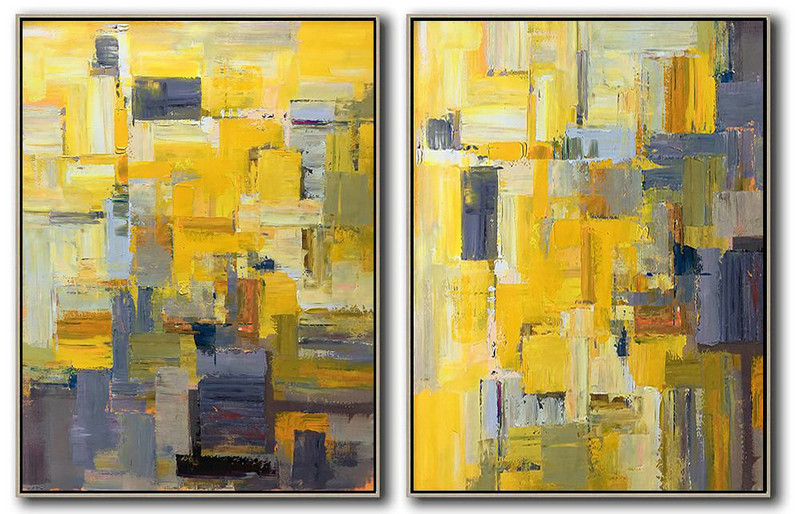 Extra Large Abstract Painting On Canvas,Set Of 2 Contemporary Art On Canvas,Hand Painted Acrylic Painting Yellow,Purple,Taupe,Brown