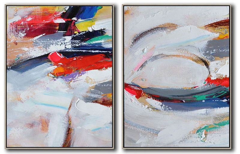 Hand Made Abstract Art,Set Of 2 Contemporary Art On Canvas,Textured Painting Canvas Art Grey,White,Dark Blue,Brown,Red