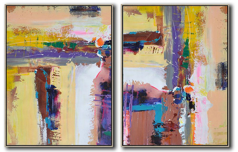 Extra Large Acrylic Painting On Canvas,Set Of 2 Contemporary Art On Canvas,Large Colorful Wall Art Yellow,Purple,Grey,White,Brown
