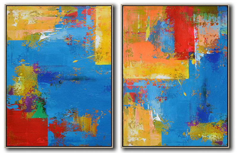 Extra Large Painting,Set Of 2 Contemporary Art On Canvas,Extra Large Canvas Painting Blue,Yellow,Red,Orange