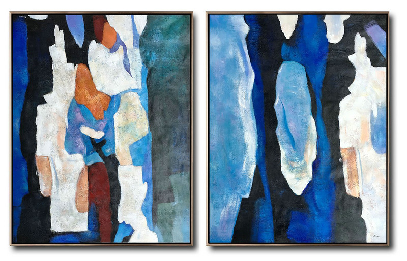 Abstract Painting Extra Large Canvas Art,Large Set Of 2 Blue Minimalist Painting On Canvas,Abstract Painting Modern Art Blue,Orange,Brown,Black,White