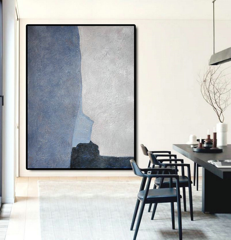 Extra Large Painting,Vertical Palette Knife Contemporary Art,Large Canvas Art,Modern Art Abstract Painting Navy Blue,White,Blue,Black