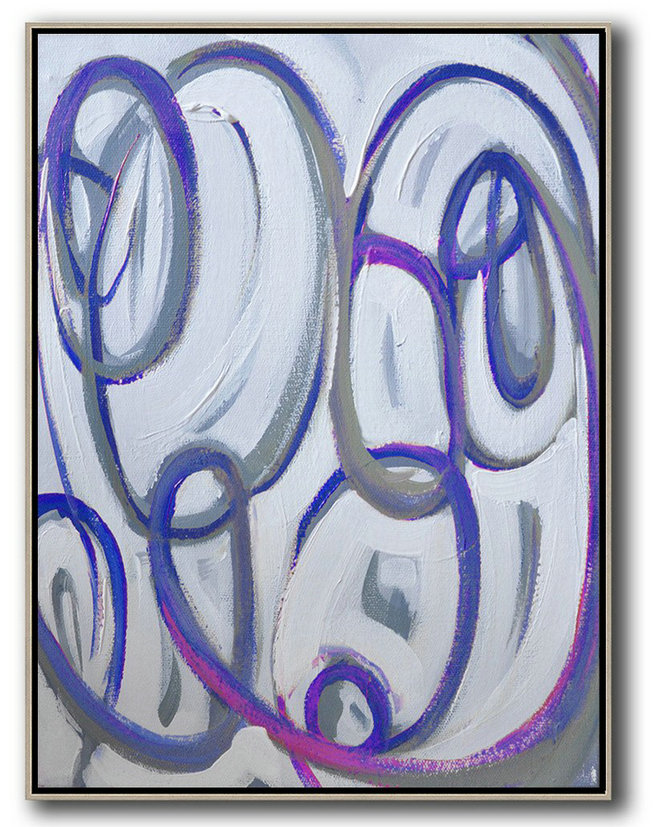 Extra Large Acrylic Painting On Canvas,Vertical Contemporary Art,Acrylic Painting On Canvas Blue,White,Pink,Purple